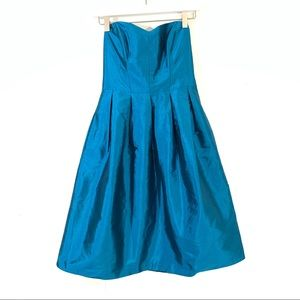 Alfred Sung Teal Metallic Party Dress with Pockets